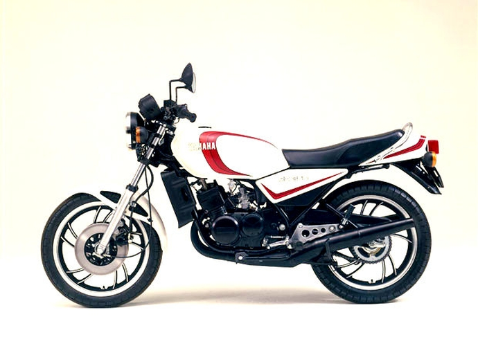 Factory official release picture of red and white Yamaha RD350LC motorcycle