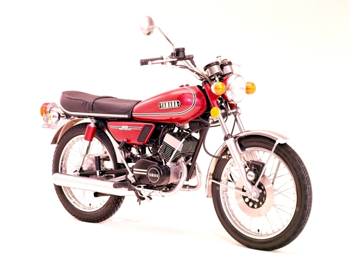 Factory official release picture of red Yamaha RD125 motorcycle
